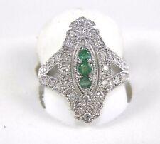 Long Green Emerald & Diamond Cluster Ring 14K White Gold 0.82Ct