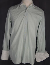 Truzzi Green Men's Dress Shirt Size 15.5 White Collar French Cuff Made in Italy