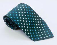 BCBG Attitude Tie Green Blue Polka Dot Silk 59 x 3.75 Hand Sewn China 1700 Ties