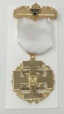 Scottish Rite Commander In Chief Wings Up Jewel in Gold Tone with White Ribbon