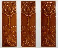 Flower Pilkingtons group of 3 Original period antique tiles Art Nouveau Majolica