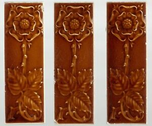 Flower Pilkingtons group of 3 Original period antique tiles Art Nouveau Majolica