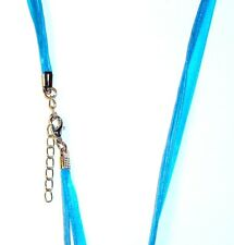 "NC133e Blue Multi-Strand Silk Voile Ribbon 17"" Necklace Cord with Lobster Clasp"