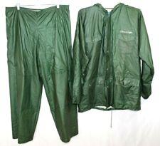 Chris Craft Green Rain Coat & Pants Tufflite PVC Rainwear 100% Vinyl Size Large