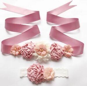 Mauve Sash Belt Maternity Sash Wedding Sash Flower Girl Sash with Headband