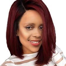 16'' Perruque Femme Brésilienne BOB Moyen Longue Droite Rouge en Synthétique