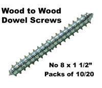 """No 8 x 1 1/2"""" Wood To Wood Dowel Screws Zink Double Ended 38mm Pack of 10 or 20"""