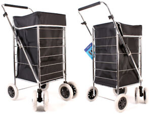 Shopping Trolley 6 Wheel Caged Strong Folding Flat Bag Light weight Case Black