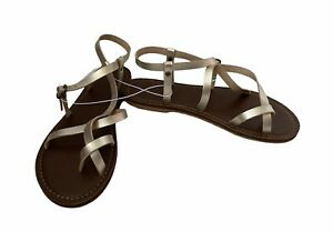 Universal Thread Sandals Women's Sz 7 Toe Wrap Thong Strappy Lavinia Gold