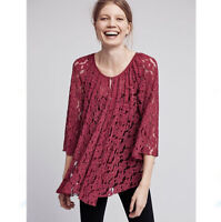NWT Anthropologie Size XS Deletta Teleza Lace Swing Top Button Front Maroon