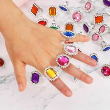6 X Kids Plastic Jewel Rings Fancy Dress  Party Bag Stocking Filler Jewellery