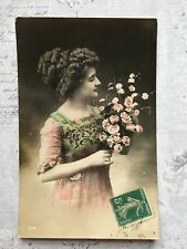 Beautiful Glamour Fashion French Lady Original Vintage Postcard