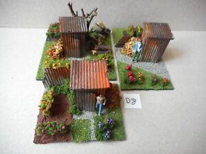 OO Gauge Diorama Allotment Garden Model Railway Scene X3 New