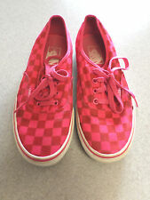 VANS Red and Pink Checkerboard Canvas Sneakers Women's 7.5