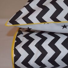MONOCHROME  100% COTTON Single Bed Duvet Cover Set Black & White  Stars Chevron