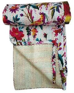 INDIAN KANTHA BIRD PRINT QUILT QUEEN/TWIN BEDSPREAD BLANKET THROW Vintage White