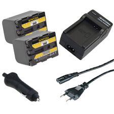 2x Batteria Patona 2600mAh + Caricabatteria casa/auto per Sony DCR-PC9E