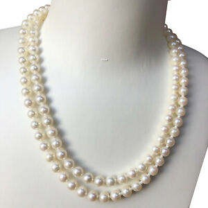 High luster 6.5-7mm Japanese Akoya Seawater White pearl Double Stand Necklace