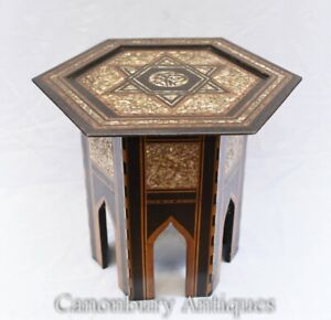 Damascan Inlay Side Table Octagonal Top