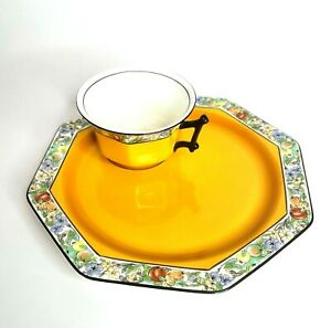 """Vintage Regal Ware Snack Plate Tray Cup Set Orange Fruit Floral Trim England 8"""""""