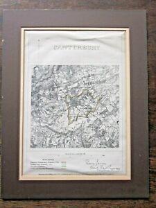"""1868 James Boundary Commission Map Canterbury Ordnance Survey Kent 1""""/1m Antique"""