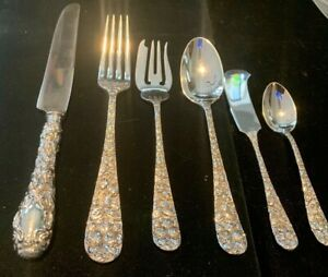 SCHOFIELD   BALTIMORE ROSE STERLING SILVER SUPER SET FOR  4 BY 6  NO MONOGRAMS