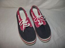 Crocs Unisex M7/W8 Hover Nautical Boat Casual Lace Shoes Navy White Red EUC