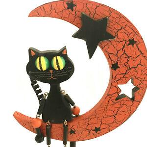 Halloween Black Cat Sitting On Moon Wooden Dangling Legs Old Folk Art Look