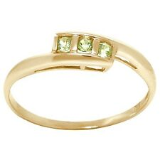 Natural Peridot 9ct 9k 375 Solid Gold Trilogy Ring - 30 Day Returns