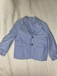 "Size 4 Janie and Jack ""Into the Blue"" Oxford Light Blue Blazer Dress Jacket"