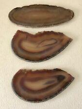 Murky Natural Agate Banded Slices Crystal Geode Polished Slab Quartz Set of 3