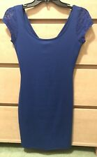 New Wet Seal Royal Blue Lace Shoulder Cap Sleeve Dress Bodycon Size S