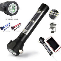 9 in1 Multifunction Solar Power LED Flashlight USB Rechargeable Emergency Torch