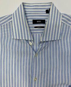 Hugo Boss Sharp Fit Button Dress Shirt 17 32/33 White Blue Stripe Cotton L/S