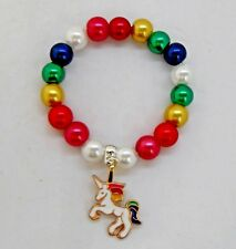 Childrens Colourful Unicorn Pearl Bracelet