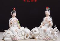 """10"""" Dehua Porcelain Gild Wenshu Puxian Kwan-yin Guanyin Lion Elephant Lotus Pair"""