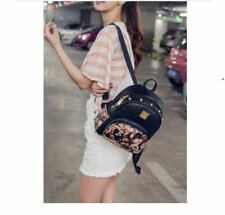 Floral Studs Leather Backpack (Black floral)