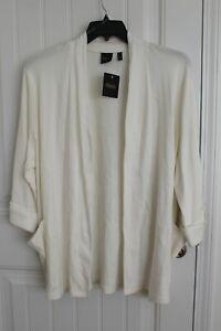 Women's Rafaella  White Ivory Cream Long Cardigan Open Front Sweater Plus Size 3