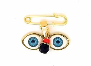 14kt GP Eyes Saint Lucky Charm Azabache Baby Pin Brooch - Ojitos De Santa Lucia