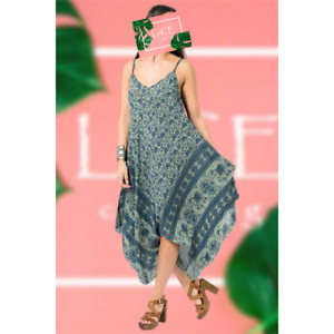 NEW Womens Sleeveless Italian Handkerchief Dress Elephant Print Cotton Sun Maxi
