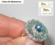 3 ct LONDON BLUE TOPAZ, EMERALD SILVER RING