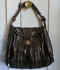 NWOT Luxurious  Luba J  Panda Bronze Patent Suede Lined Hobo Shoulder Bag Purse