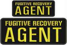 Fugitive Recovery Agent embroidery patches 4x10 and 2.5x6 hook on back blk/gold