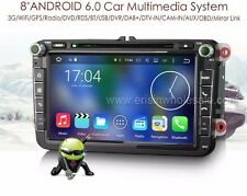 "AUTORADIO Android 6.0 8"" Vw golf passat Polo Navigatore Comandi Volante Bluetoot"