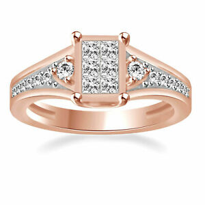 Simulated Diamond Square Engagement Ring 14K Rose Gold