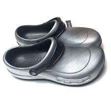 Crocs Bistro Metallic Silver Clog Mens Size 13 Enclosed Work Shoes Anti Slip