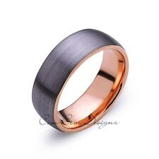 Rose Gold Tungsten Wedding Band - Gray Brushed Tungsten Ring - 8mm Dome - Mens R