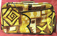 Vintage 1960's Psychedelic Womens Makeup Bag Luggage Tote Purse Made In Japan
