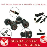 Dual Battery Connector+USB Cable+Fix Strap For XLH 9125 1/10 Off-Road RC Truck