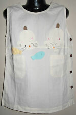 New 100% Cotton Cream Dungaree Pinafore Dress Size Age Medium M 6-8 Years